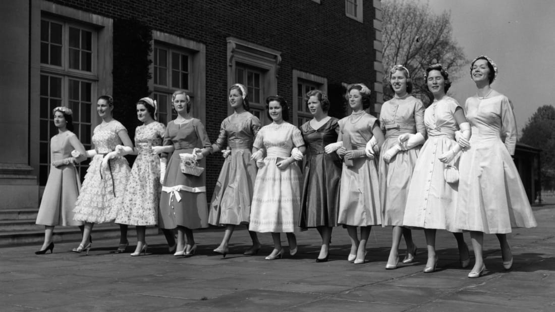 (Probably well-mannered) debutantes in London, 1957 (via Getty)