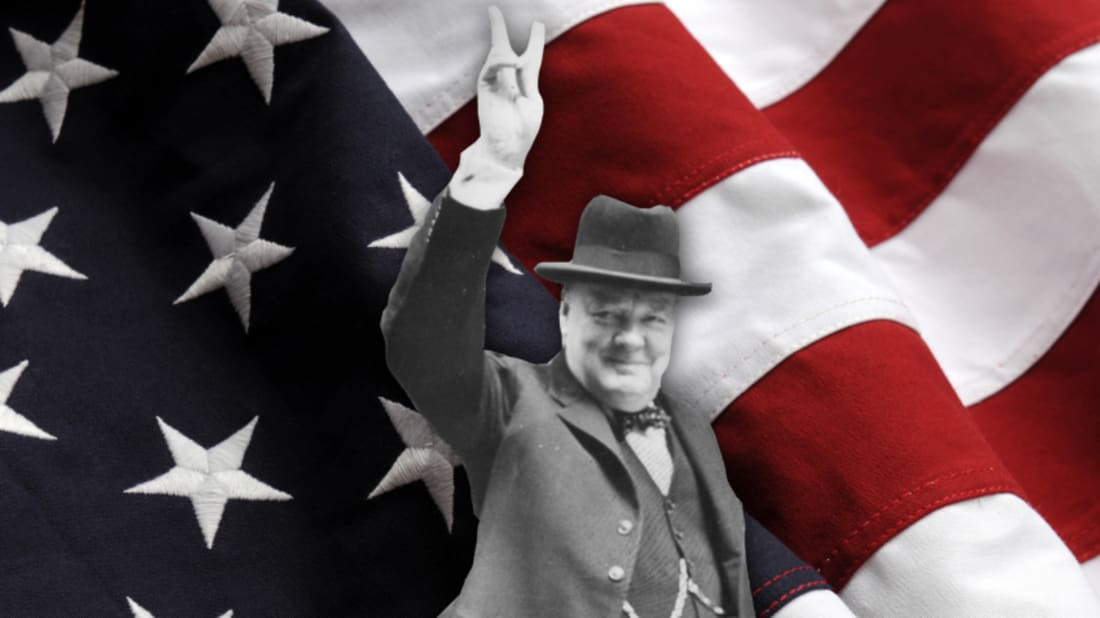 getty images (churchill) / istock (flag)