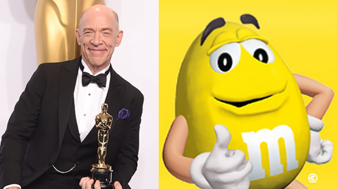Getty Images (JK Simmons); MMS.com (Yellow M&M)
