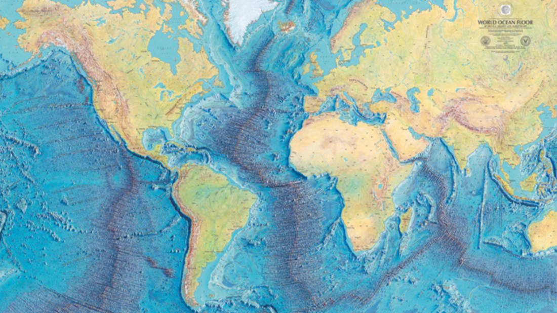 WORLD OCEAN FLOOR PANORAMA, BRUCE C. HEEZEN AND MARIE THARP, 1977. COPYRIGHT BY MARIE THARP 1977/2003. REPRODUCED BY PERMISSION OF MARIE THARP MAPS, LLC 8 EDWARD STREET, SPARKILL, NEW YORK 10976