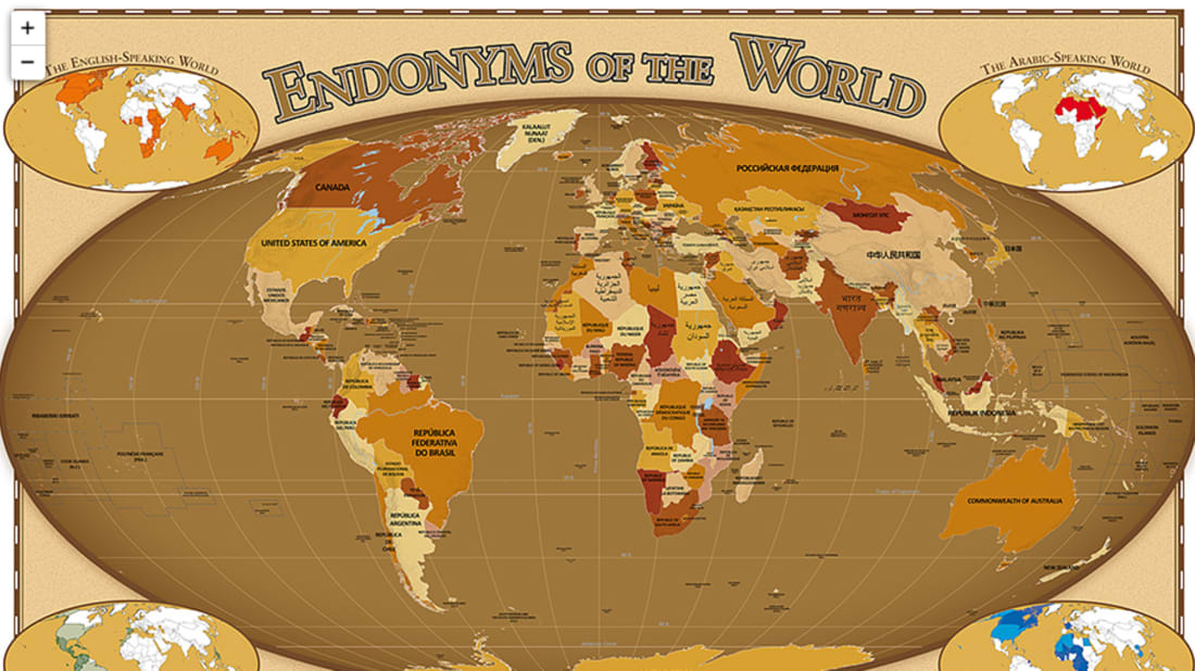 Map Of The World In English.Countries As Named In Their Own Languages Mental Floss