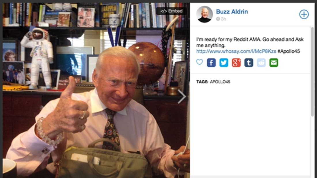 18 Things We Learned from Buzz Aldrin's Reddit AMA | Mental