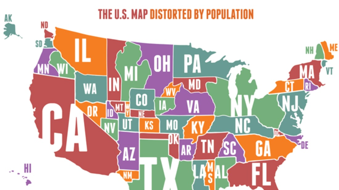 The Us Map Distorted By Population Mental Floss - Population-us-map