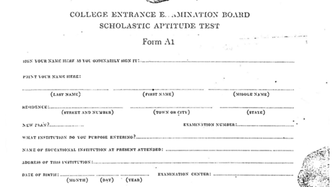 Take the Very First SAT from 1926