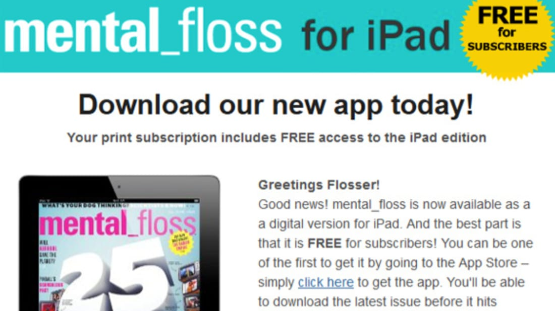 Introducing the mental_floss iPad App! | Mental Floss