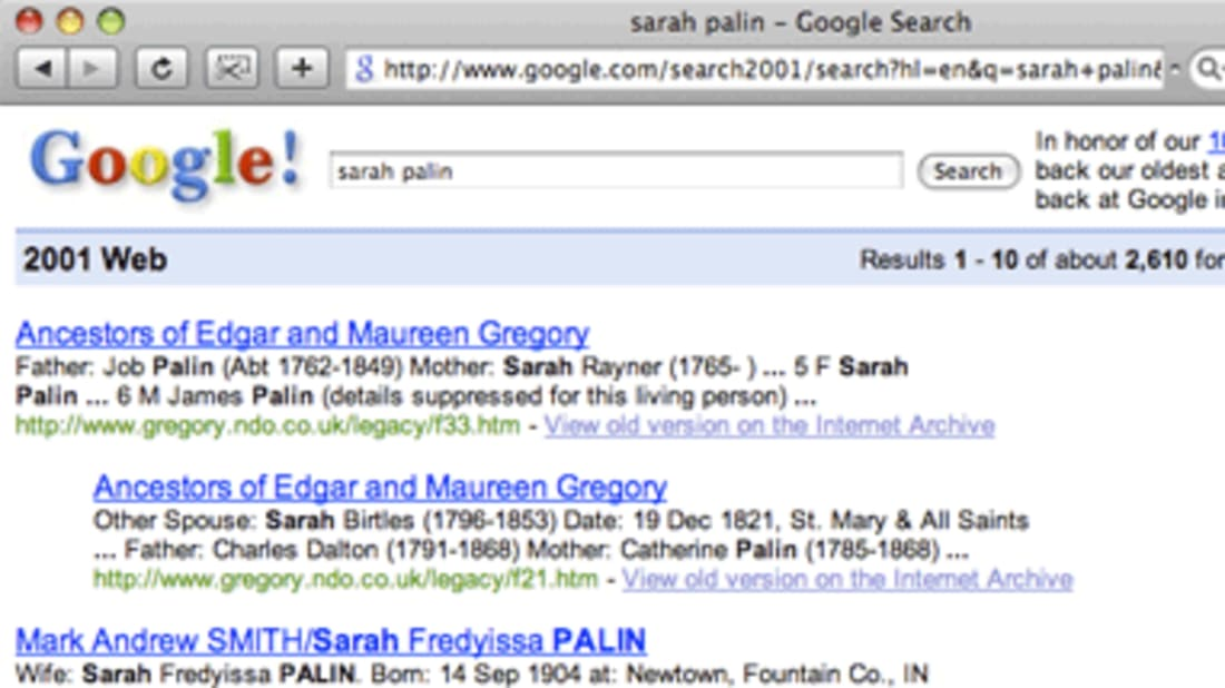 Search Google From January 2001 | Mental Floss