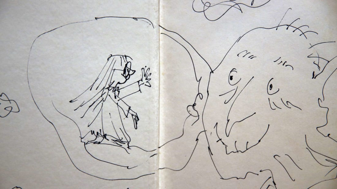 An annotated page from Roal Dahl's 'The BFG' by Quentin Blake is displayed at Sotheby's auction House on December 4, 2014 in London, England.