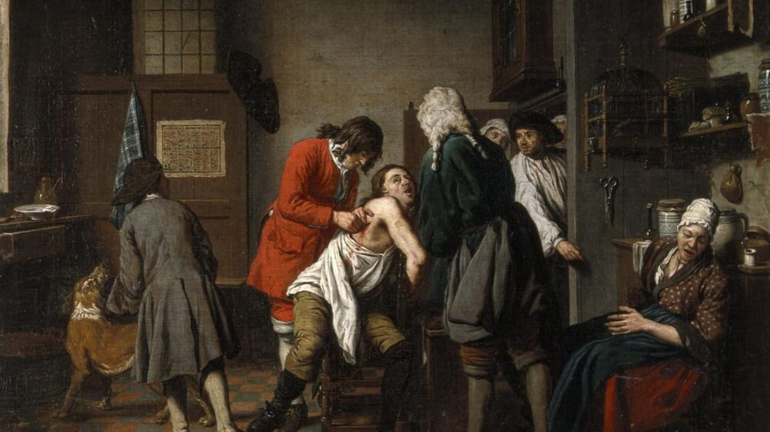 Jan Josef Horemans, Interior with a surgeon and his apprentice attending to a patient (1722), Wellcome Collection // CC BY-NC 4.0