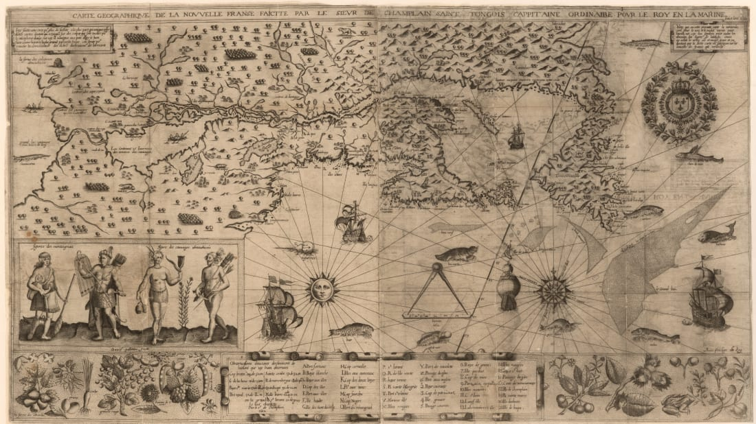 The 17th-century Samuel de Champlain map of New France was stolen from the Boston Public Library.