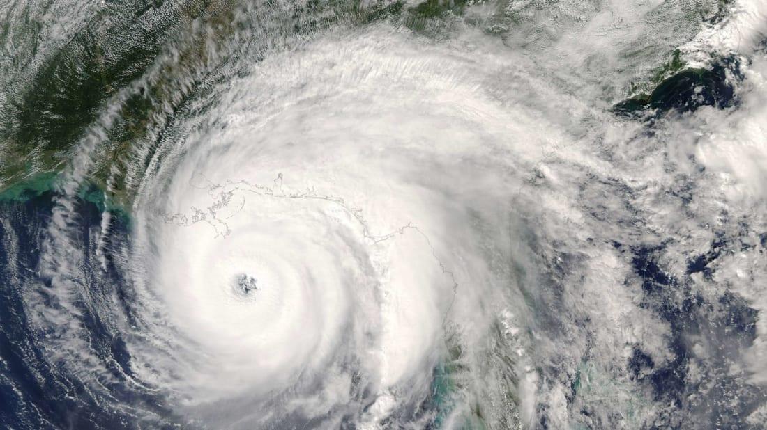 A hurricane bears down on the U.S. Gulf Coast.