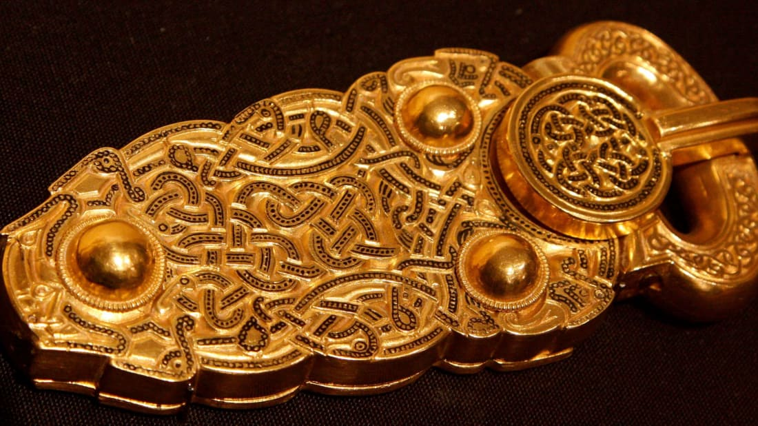 The great buckle was excavated from the Sutton Hoo ship burial.