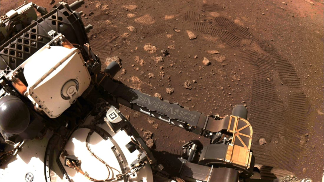 NASA's Perserverance rover takes a photo of Mars.