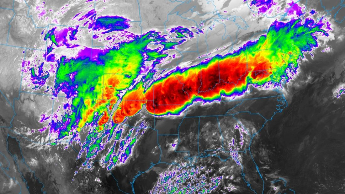 An infrared satellite image from the new GOES-16 satellite showing thunderstorms exploding in the Midwest on the evening of April 28, 2017.