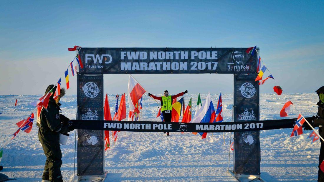 PiotrSuchenia of Poland crosses the finish line at this year's North Pole Marathon. //North Pole Marathon via Facebook