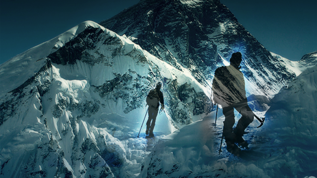 CHLOE EFFRON // WIKIMEDIA COMMONS (Everest), ISTOCK (climbers)