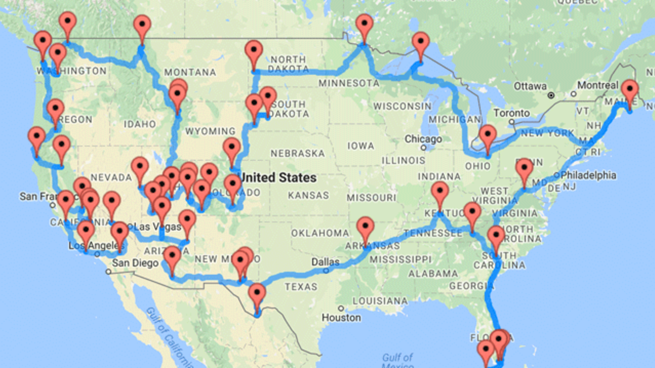 Us Road Map With National Parks Road Trip Genius Calculates the Shortest Route Through 47 National