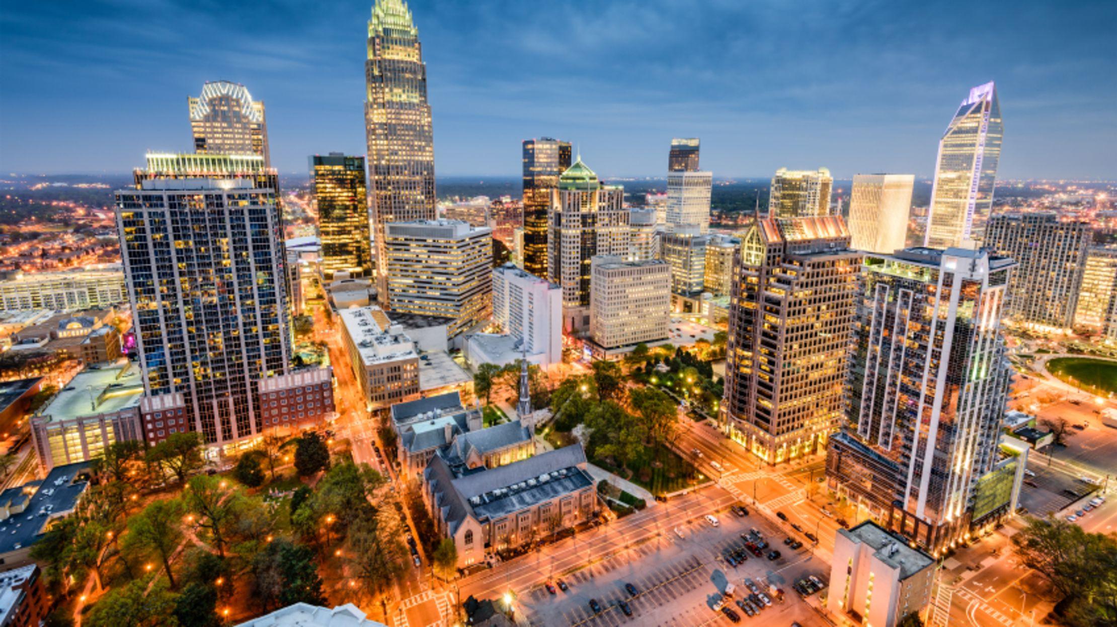 Free photo: Charlotte skyline - America, Skyline, Night