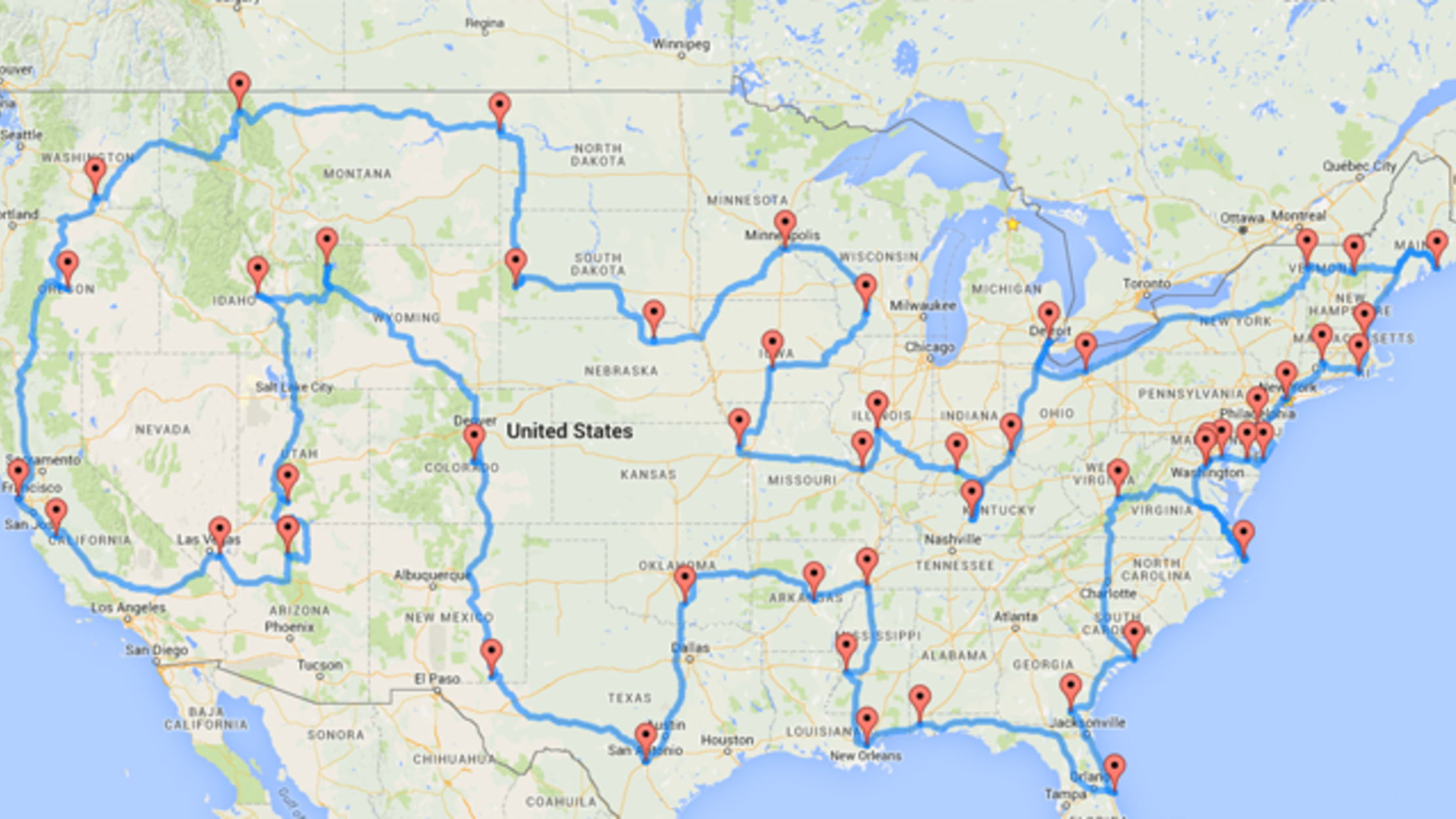 This Map Shows the Ultimate U.S. Road Trip | Mental Floss Road Map Of Ny And Pa on map of ny towns, map york pa, map of new jersey and pennsylvania border, map of ny and pennsylvania, map of western pennsylvania railroads, map of pennsylvania pa, map of upstate new york, map of ohio and ny, map ohio pennsylvania and new york, map of ma and ny, map of pennsylvania with cities, map of ny and ct, map of connecticut and new york new jersey, new york map binghamton ny, map of nj ny border, map of westfield pa, map of western pa, map of vt and ny, map of pennsylvania and new york state, map of nc and ny,