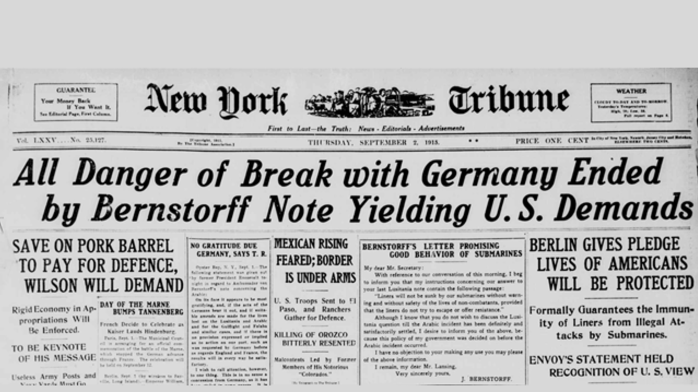 WWI Centennial: Germany Backs Down, As Spy Scandals Erupt