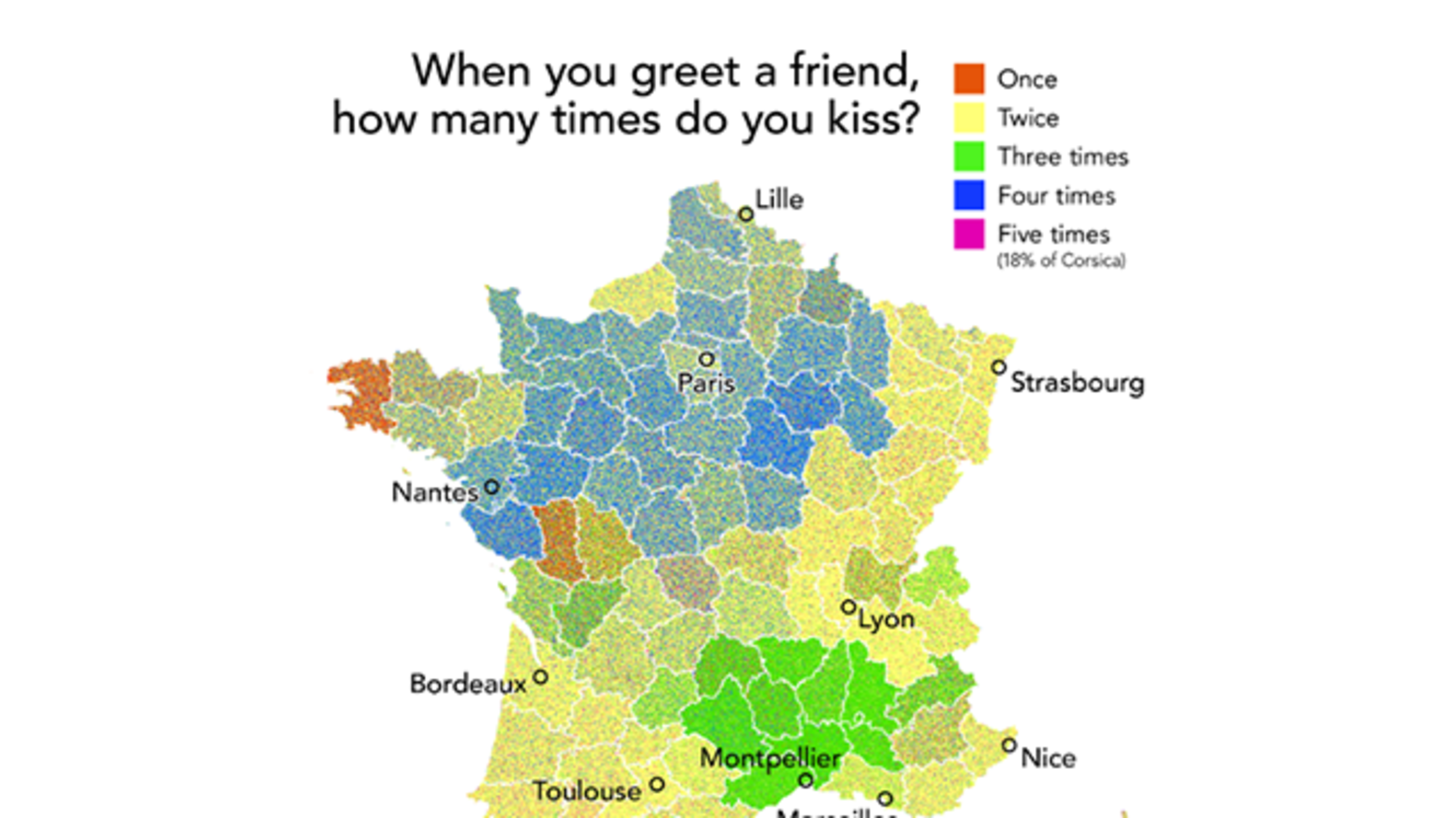 Montpellier On Map Of France.How Many Kisses Make A Proper Greeting In France Mapped Mental Floss