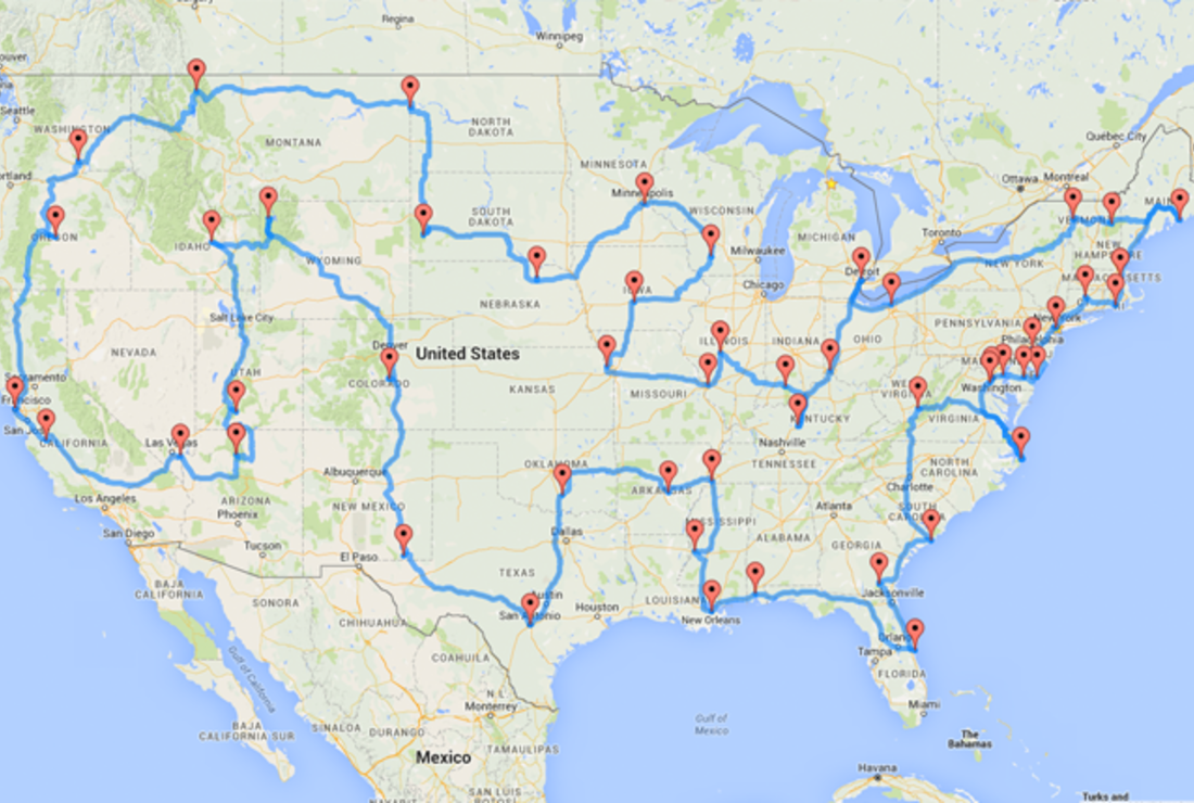 this map shows the ultimate u s road trip mental floss map shows the ultimate u s road trip