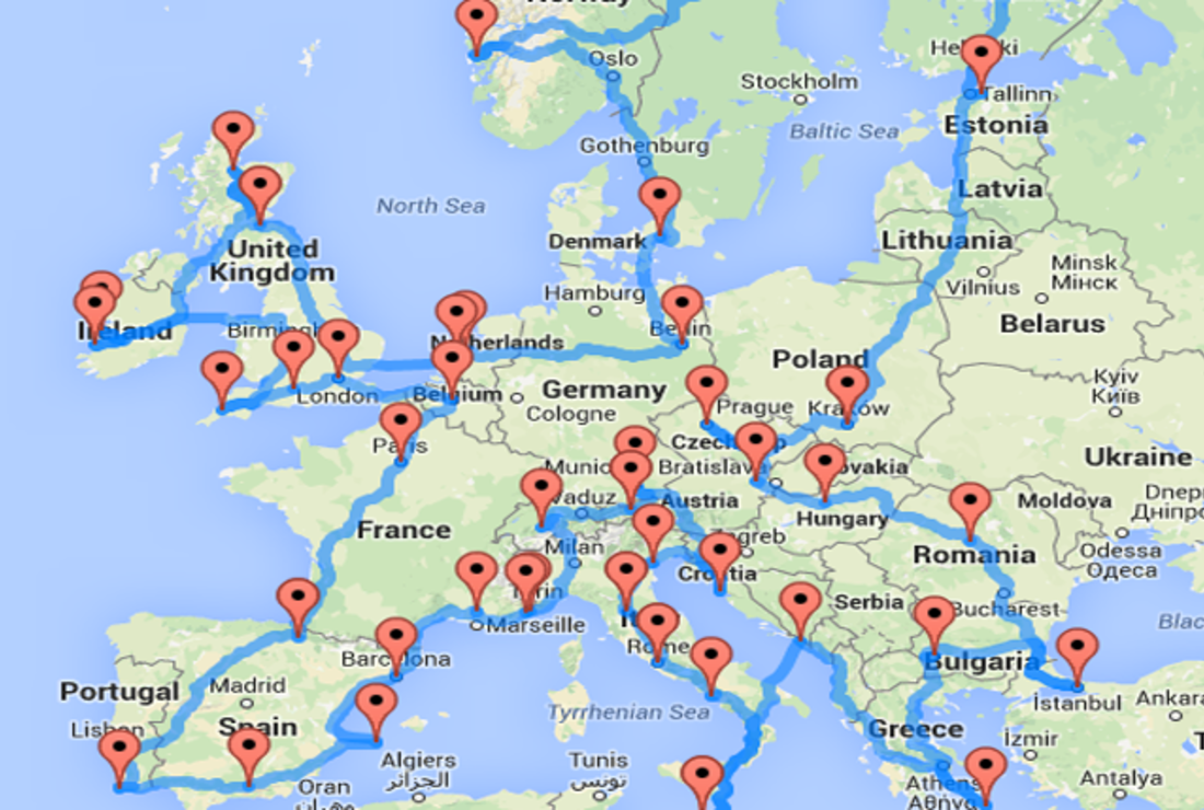 Map Of Spain And Greece.Data Scientist Computes The Ultimate European Road Trip Mental Floss