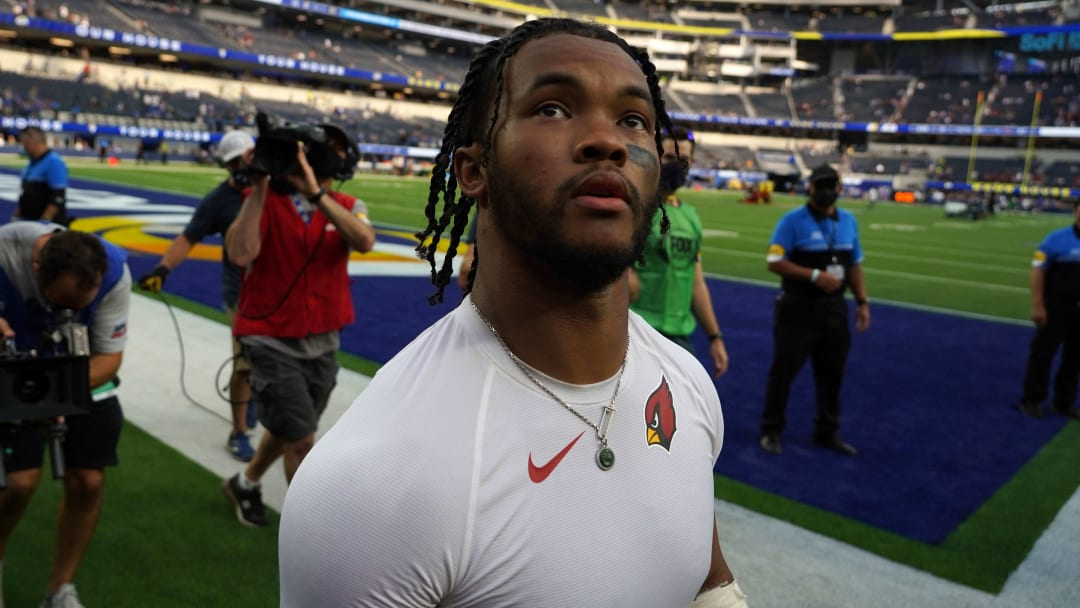 Oct 3, 2021; Inglewood, CA; Arizona Cardinals quarterback Kyler Murray (1) walks off the field after the game against the Los Angeles Rams.