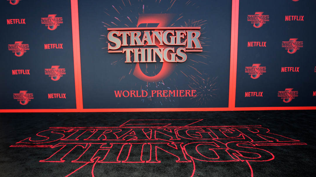 """SANTA MONICA, CALIFORNIA - JUNE 28: A view of the carpet during the """"Stranger Things"""" Season 3 World Premiere on June 28, 2019 in Santa Monica, California. (Photo by Rachel Murray/Getty Images for Netflix)"""
