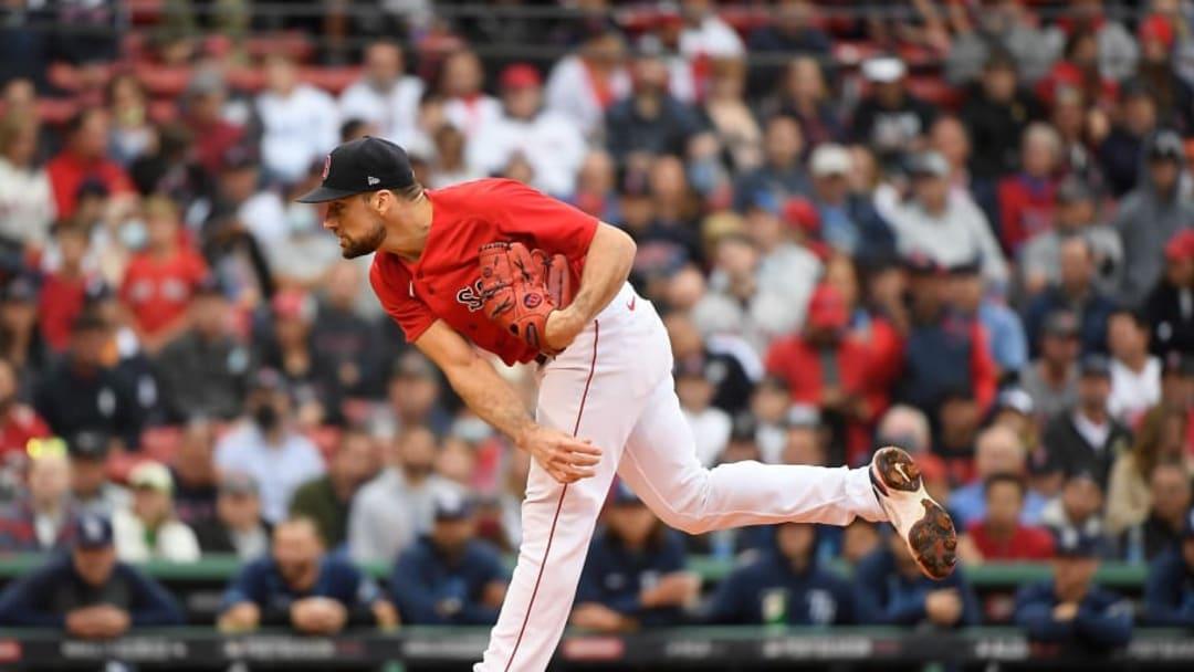 Oct 10, 2021; Boston, Massachusetts, USA; Boston Red Sox starting pitcher Nathan Eovaldi (17) | Bob DeChiara-USA TODAY Sports