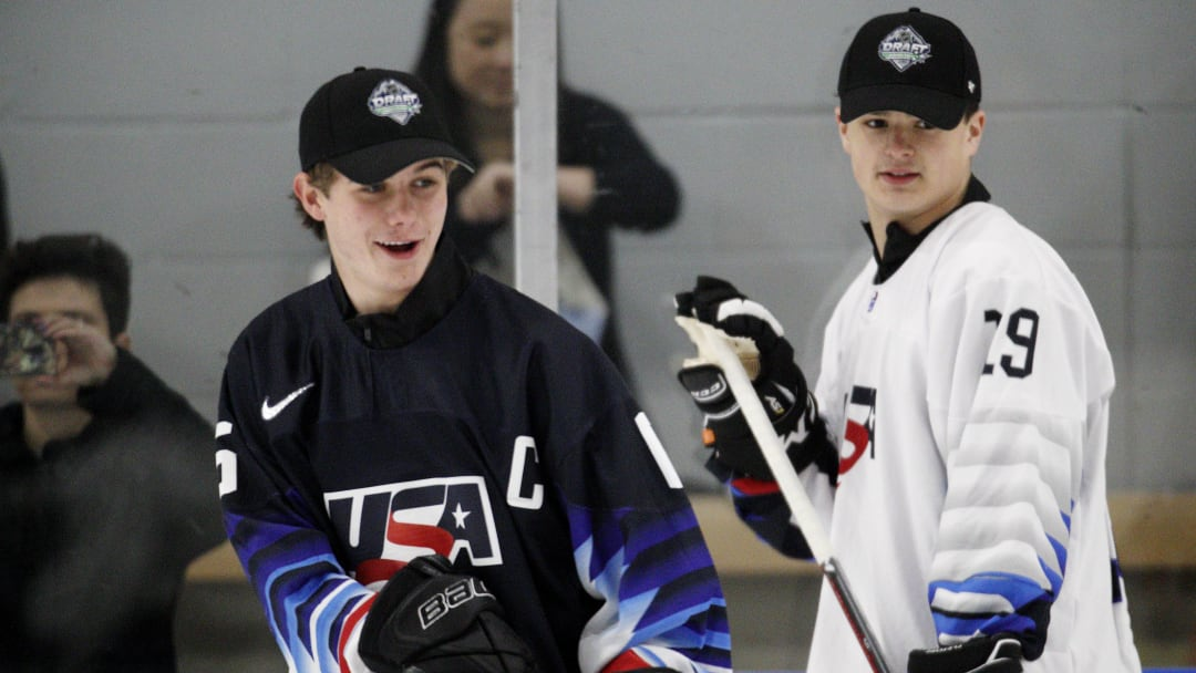 VANCOUVER , BC - JUNE 20:  Jack Hughes #6 (L) and Alex Turcotte #19 take part in a Top Prospects Clinic prior to the NHL draft at Hillcrest Community Centre on June 20, 2019 in Vancouver, British Columbia, Canada.  (Photo by Kevin Light/Getty Images)