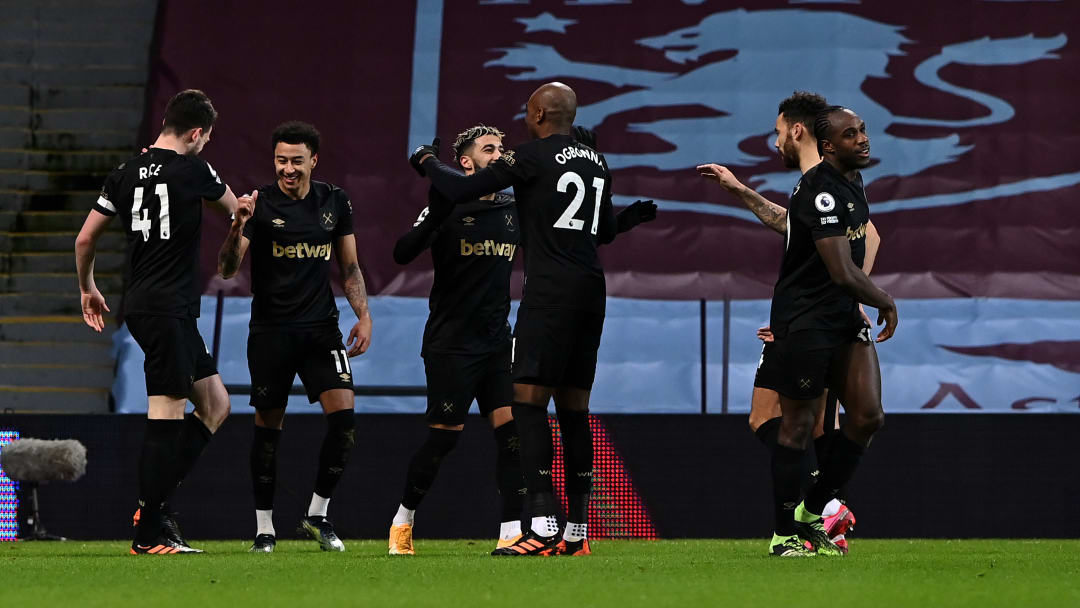 West Ham's players celebrate Jesse Lingard scoring on his debut