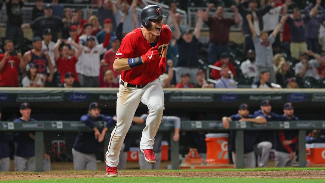 MINNEAPOLIS, MINNESOTA - JUNE 19:  Max Kepler #26 of the Minnesota Twins reacts to his game winning run in the seventeenth inning at Target Field on June 19, 2018 in Minneapolis, Minnesota.The Minnesota Twins defeated the Boston Red Sox 4-3 in 17 innings. (Photo by Adam Bettcher/Getty Images)