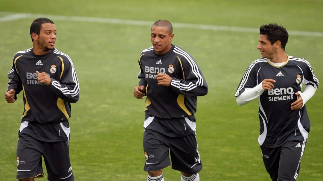 Brazilian defender Marcelo Vieira (L), R...