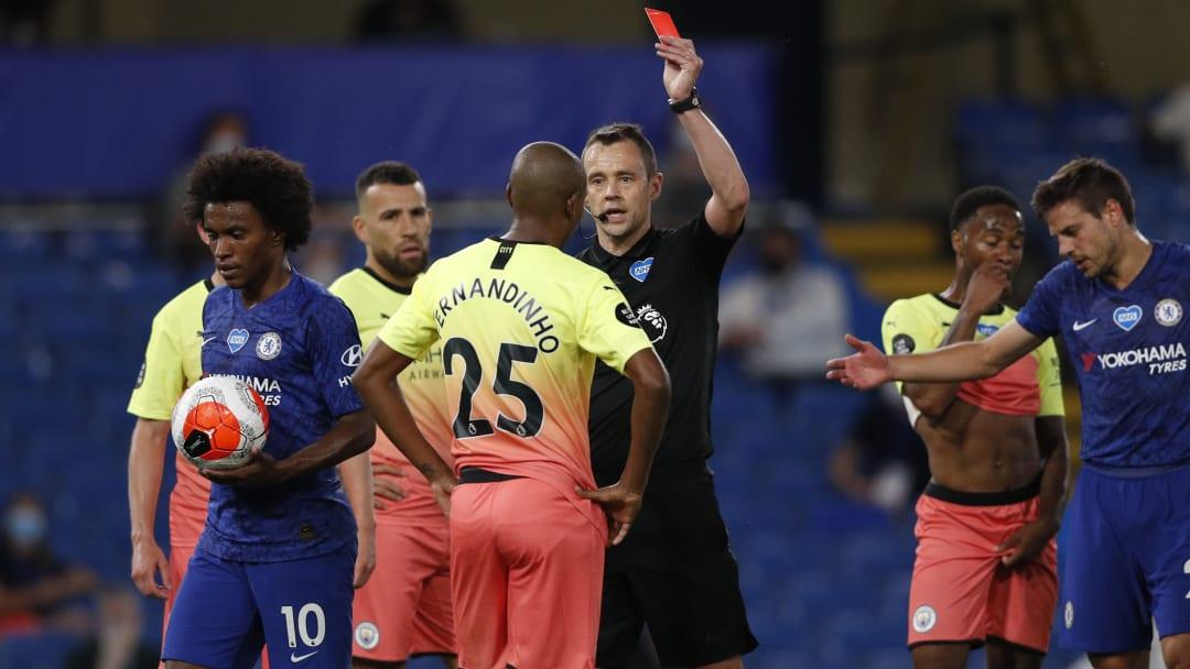 Fernandinho gets sent off during last season's fixture