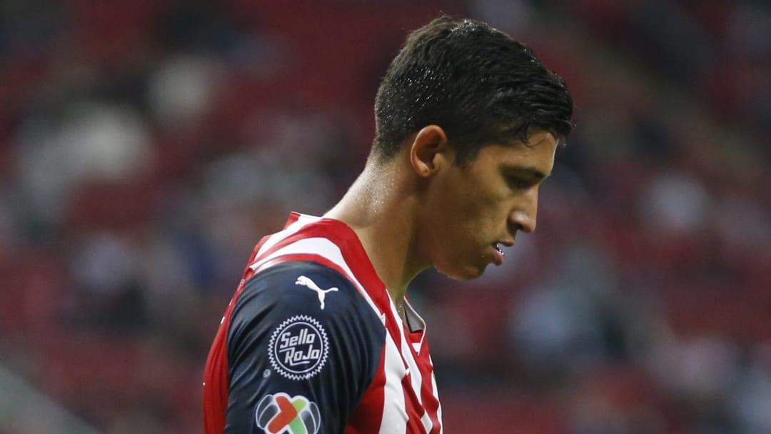 La frustración del delantero Ángel Zaldívar tras la derrota del Rebaño Sagrado ante San Luis.