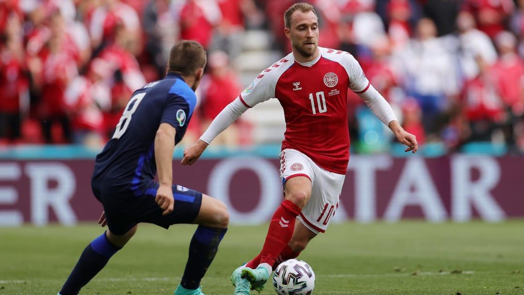 Eriksen in azione contro la Finlandia