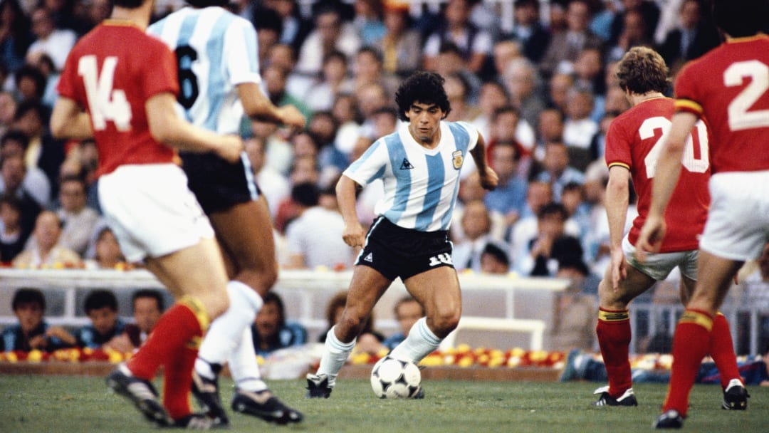 Diego Maradona in action at the 1982 World Cup in Spain