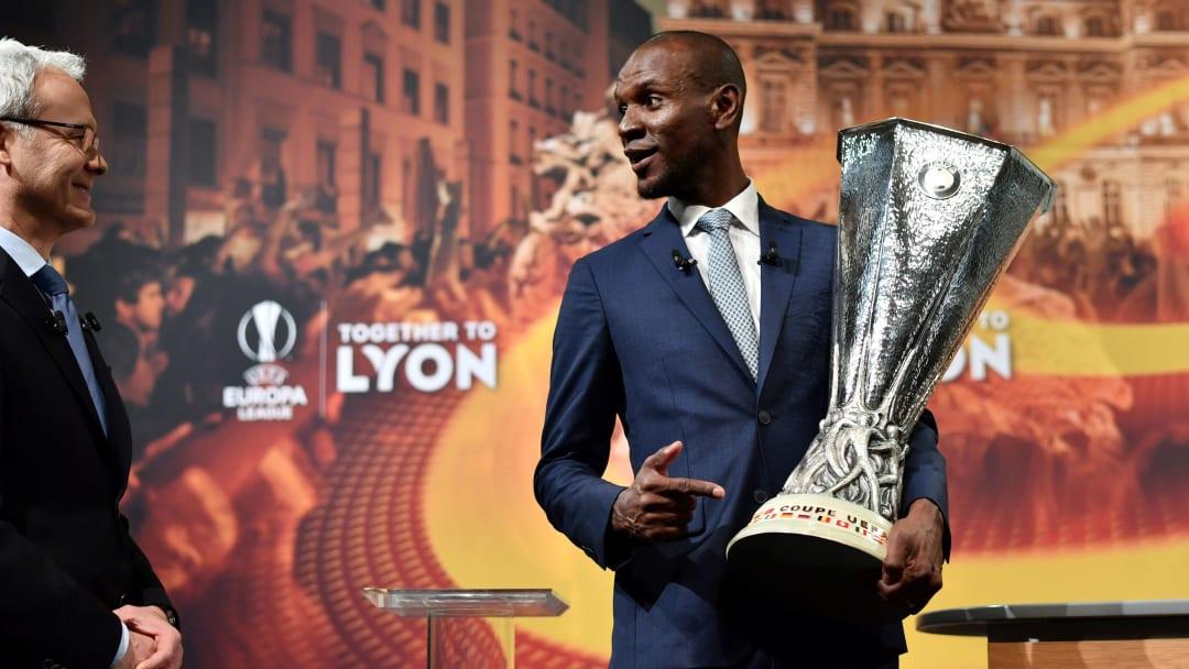 Eric Abidal lors du dernier tirage au sort de l'Europa League.