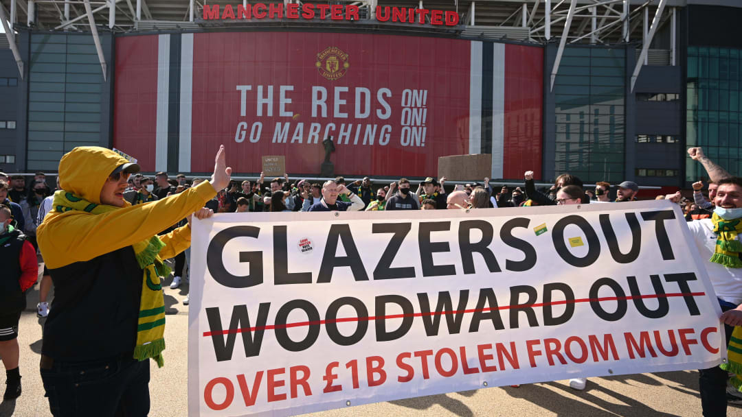 Old Trafford was awash with protesters on Saturday