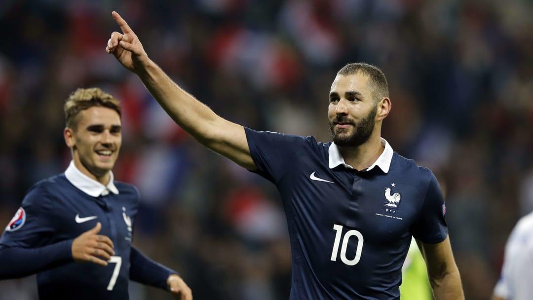 Karim Benzema lors d'un match amical avec l'Équipe de France face à l'Arménie.