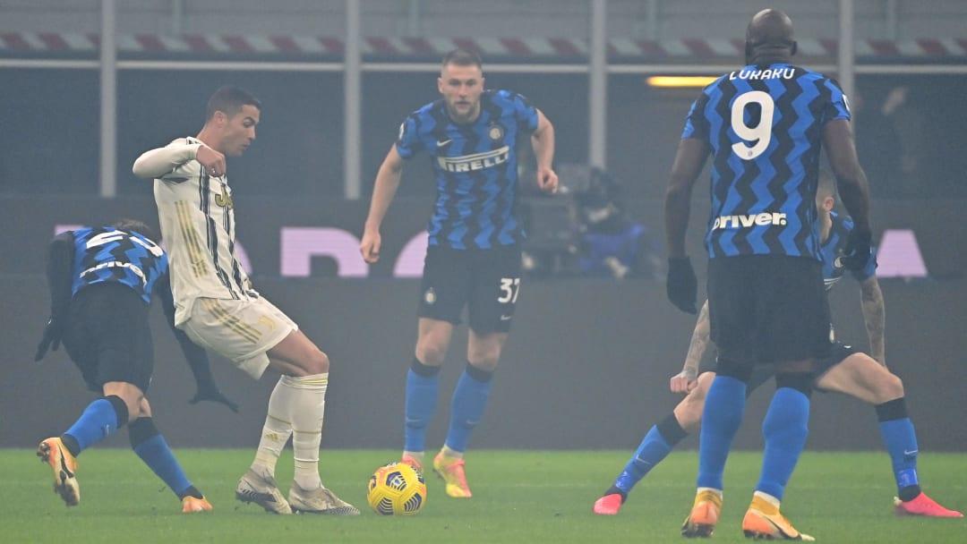 Uno scatto della sfida tra Inter e Juventus