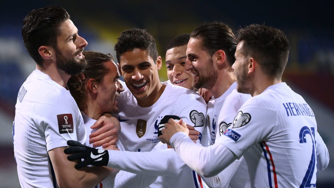 Les joueurs de l'Équipe de France, lors de leur victoire face à la Bosnie en mars dernier à Sarajevo (1-0).