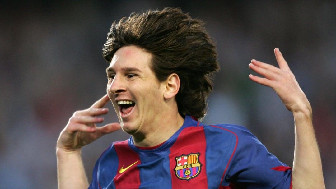Lionel Messi lors de ses débuts au FC Barcelone