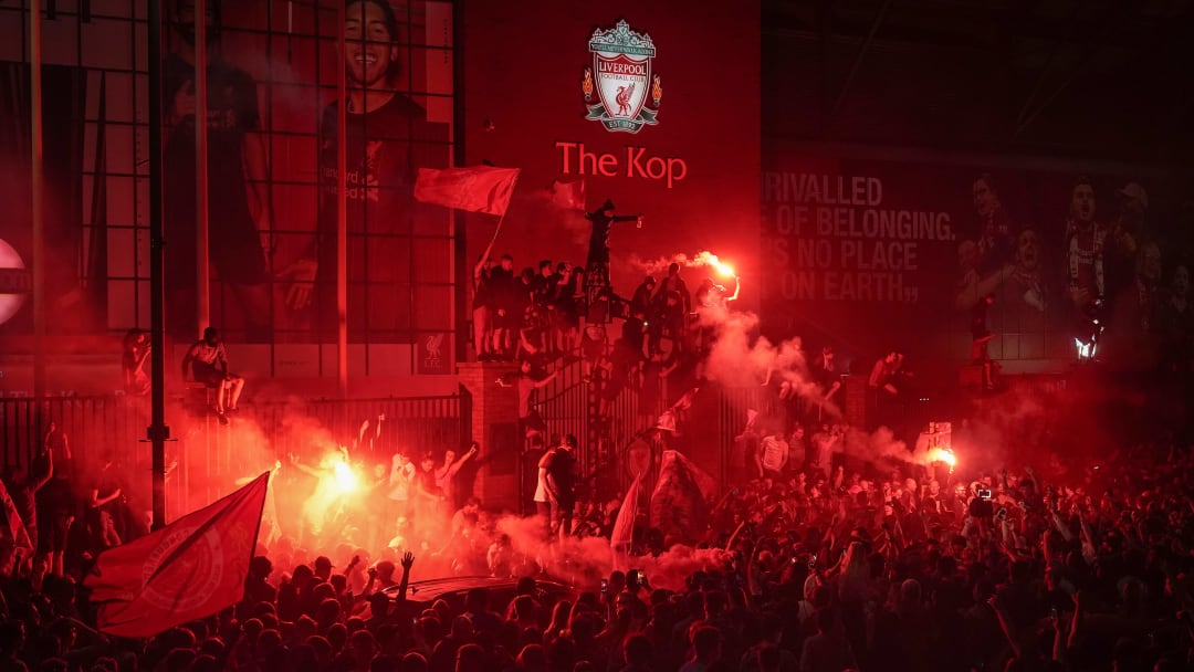 Fans Celebrate Liverpool FC Winning The Premier League Title