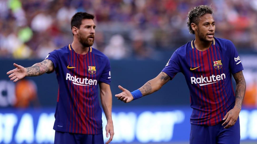 Neymar et Messi avec le FC Barcelone en 2017.