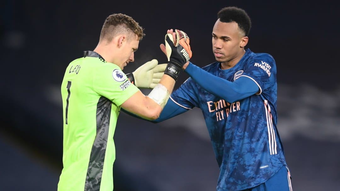 Bernd Leno and Gabriel embrace each other after keeping a clean sheet