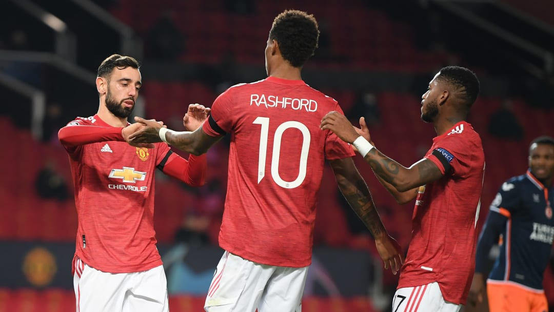 A Bruno Fernandes brace set Manchester United on their way in the opening period