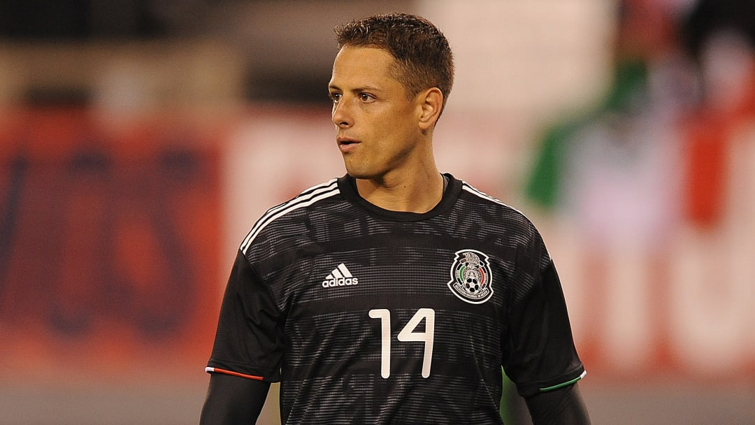 Chicharito playing for Mexico against the United States
