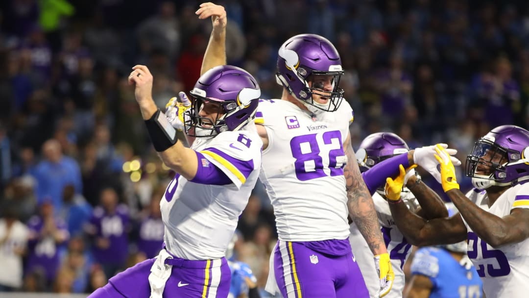 DETROIT, MI - DECEMBER 23: Kirk Cousins #8 of the Minnesota Vikings and Kyle Rudolph #82 of the Minnesota Vikings celebrate a touchdown in the second quarter against the Detroit Lions at Ford Field on December 23, 2018 in Detroit, Michigan. (Photo by Gregory Shamus/Getty Images)