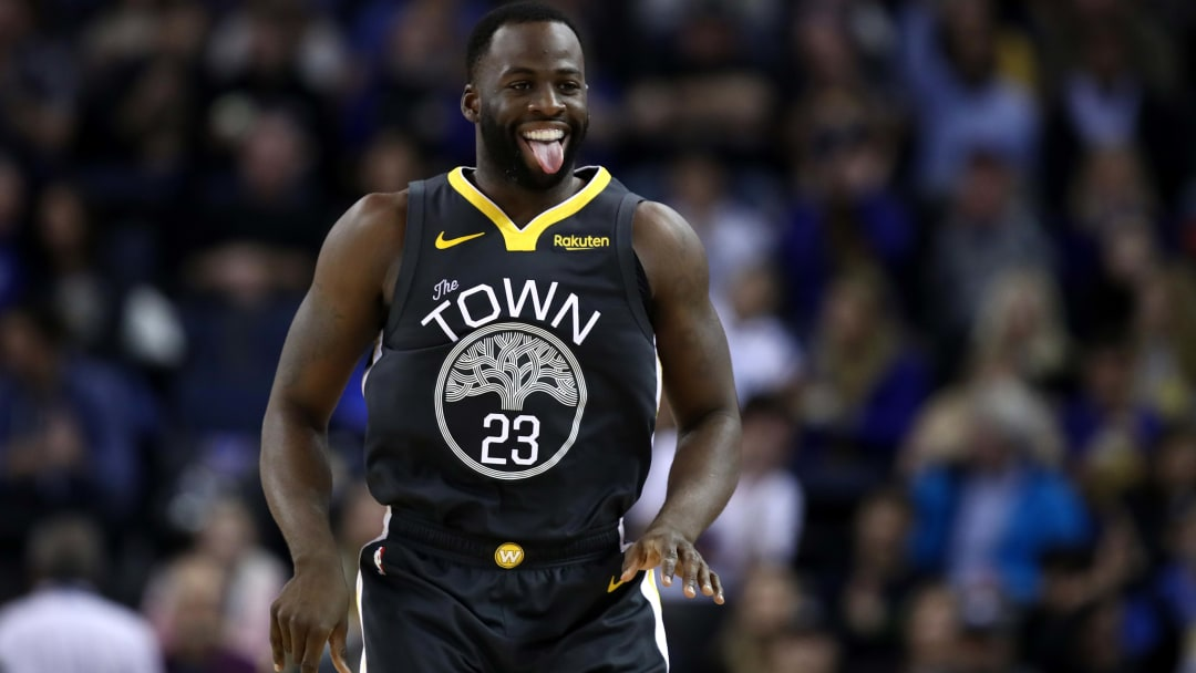 OAKLAND, CALIFORNIA - JANUARY 16:  Draymond Green #23 of the Golden State Warriors reacts after he made a shot against the New Orleans Pelicans at ORACLE Arena on January 16, 2019 in Oakland, California.  NOTE TO USER: User expressly acknowledges and agrees that, by downloading and or using this photograph, User is consenting to the terms and conditions of the Getty Images License Agreement. (Photo by Ezra Shaw/Getty Images)